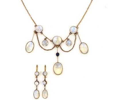 A SUITE OF ANTIQUE MOONSTONE A