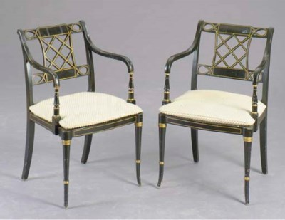 A SET OF THREE REGENCY STYLE E