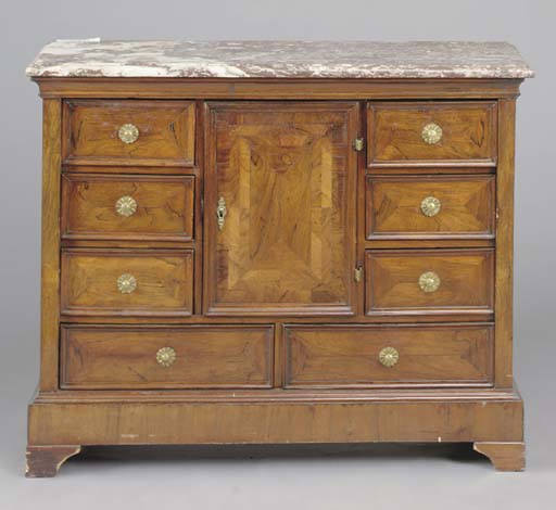 A ROSEWOOD MARBLE TOP SIDE CAB