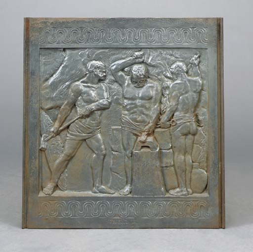 A CAST IRON ALLEGORICAL RELIEF