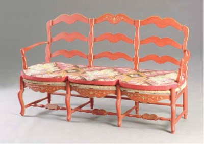 A LOUIS XV STYLE RED AND GOLD