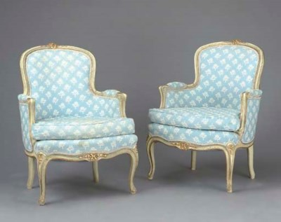 A PAIR OF LOUIS XV STYLE GREY