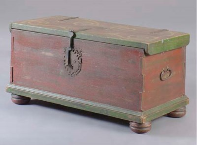 A GREEN AND RED-PAINTED CHEST,