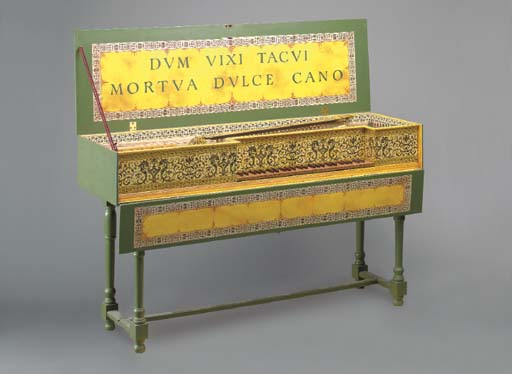 A GREEN PAINTED HARPSICORD,