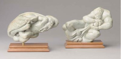 TWO CARVED STONE FIGURES OF MY