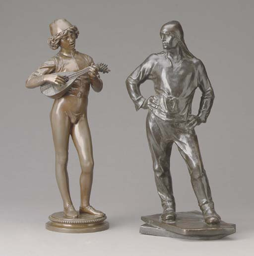 TWO PATINATED BRONZE FIGURES,