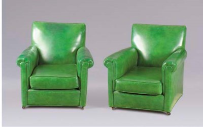 A PAIR OF GREEN VINYL CLUB CHA