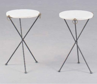 A PAIR OF METAL MOUNTED MARBLE