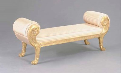 AN EMPIRE STYLE GILTWOOD WINDO