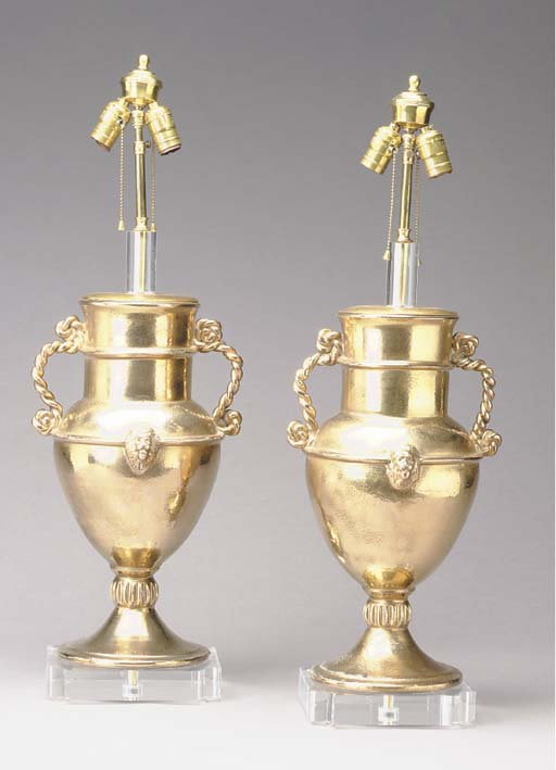 A PAIR OF GILT-METAL URNS MOUN