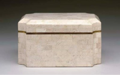 A STONE VENEERED TABLE BOX,
