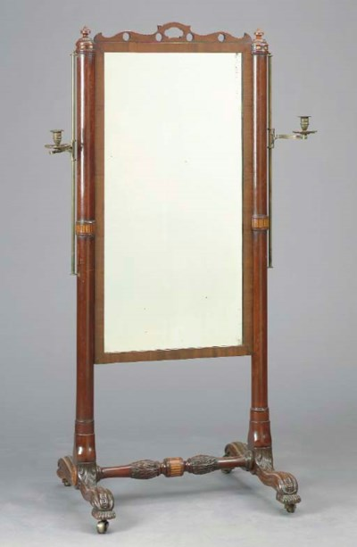 A MAHOGANY CHEVAL MIRROR WITH