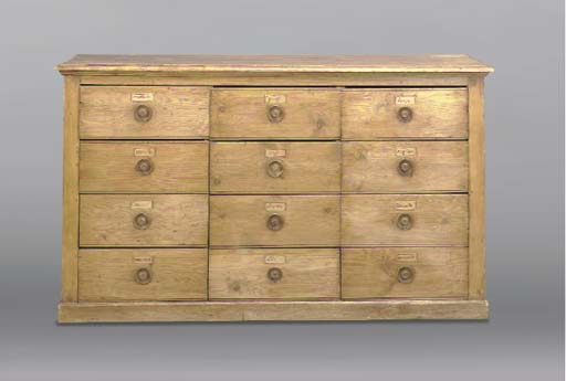 A FRENCH PINE SPICE CHEST,