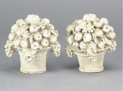 PAIR OF CARVED STONE FRUIT BAS