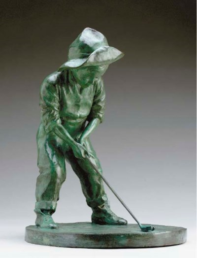A GREEN PATINATED FIGURE OF A