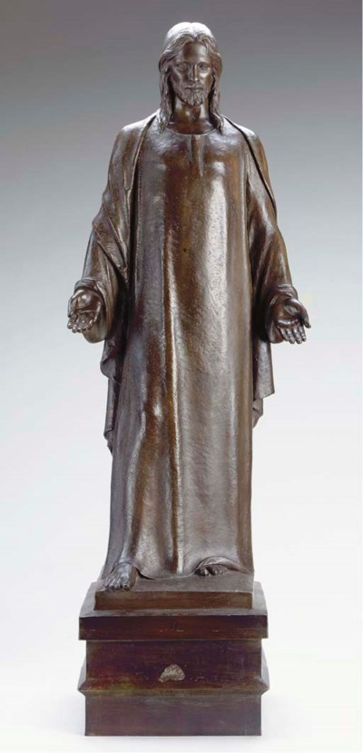 A BRONZE MODEL OF CHRIST,