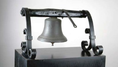 A BRONZE FOUNDRY BELL SUPPORTE