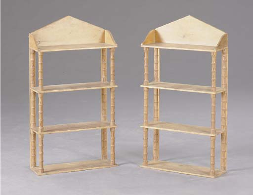 A PAIR OF VICTORIAN FOUR-TIERED PINE HANGING ETAGERES,