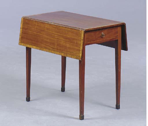 A GEORGE III MAHOGANY SATINWOOD CROSSBANDED PEMBROKE TABLE,