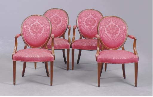 A SET OF FOUR GEORGE III STYLE MAHOGANY OPEN ARMCHAIRS,