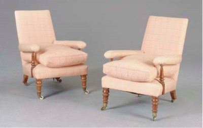 A PAIR OF VICTORIAN UPHOLSTERE