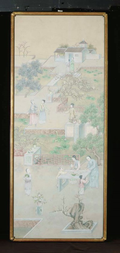 THREE FRAMED CHINOISERIE PAINT