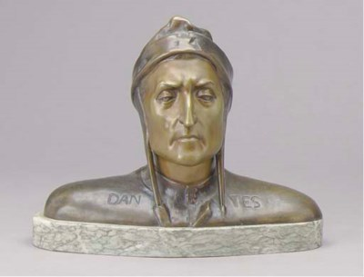A PATINATED BRONZE BUST OF DAN