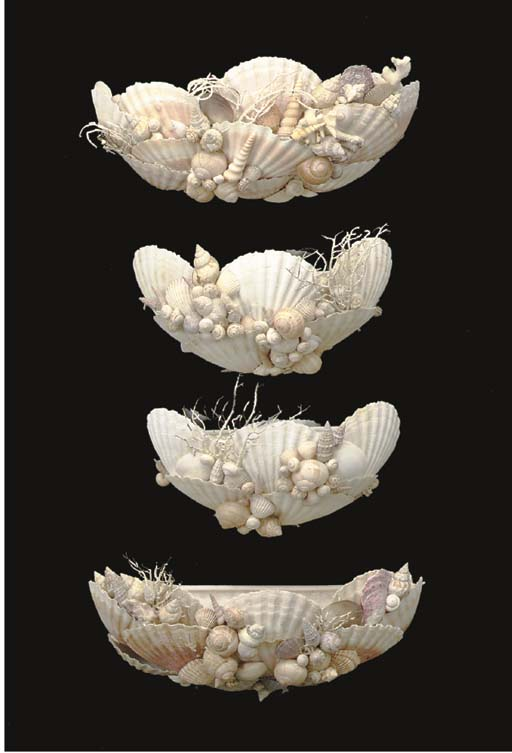 TWO PAIR OF SHELL DECORATED WA