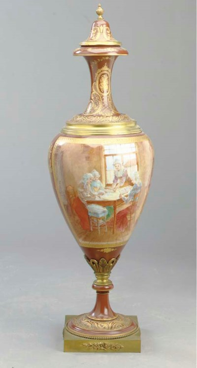 A SEVRES STYLE PORCELAIN AND G