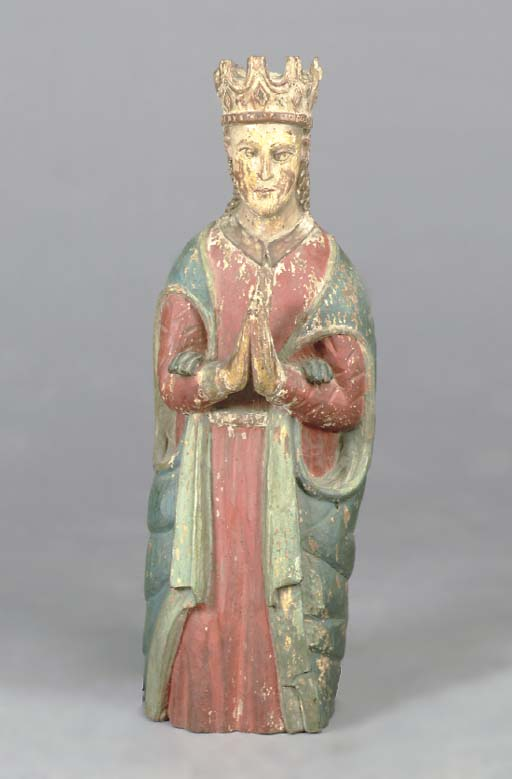 A POLYCHROME PAINTED CARVED WO