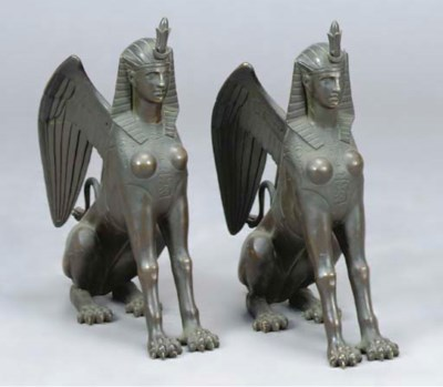 A PAIR OF PATINATED BRONZE FIG