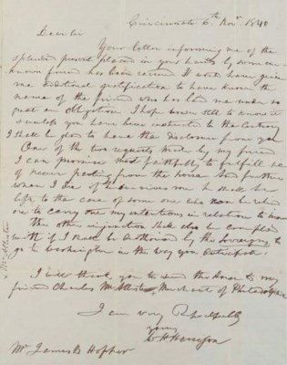 HARRISON, William H. Autograph