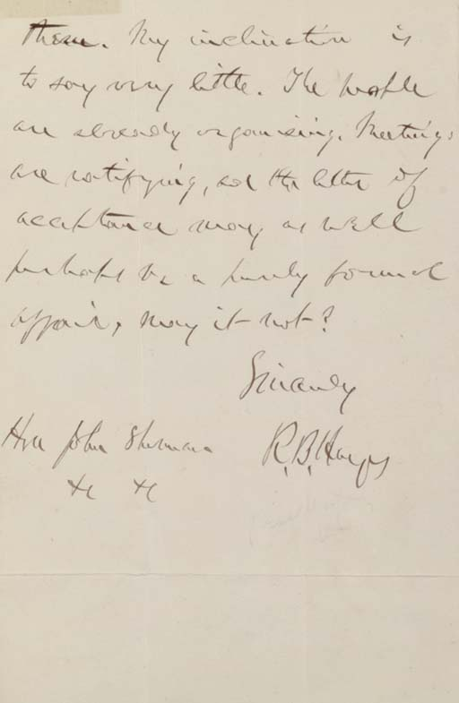HAYES, Rutherford B. Autograph