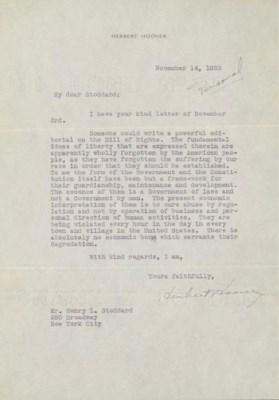 HOOVER, Herbert. Typed letter