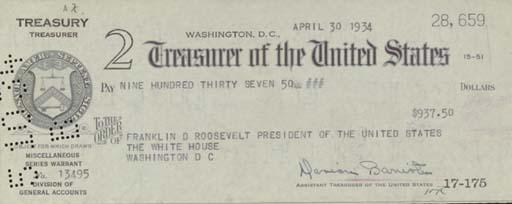 ROOSEVELT, Franklin D. Printed
