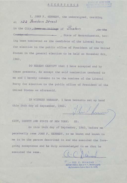 KENNEDY, John F. Typed documen
