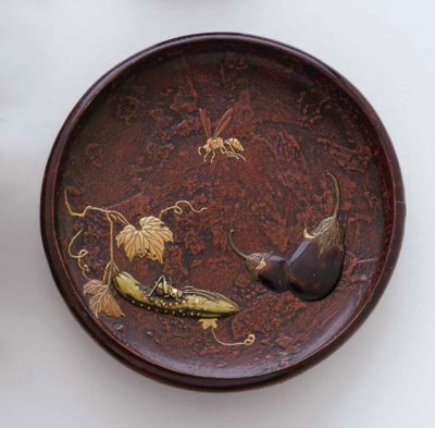 A Lacquered Wood Dish and Two