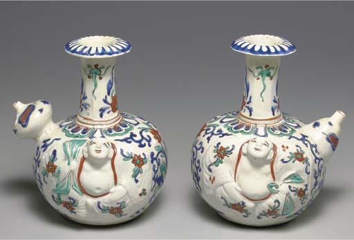 Two Porcelain Gorgelets (Kendi