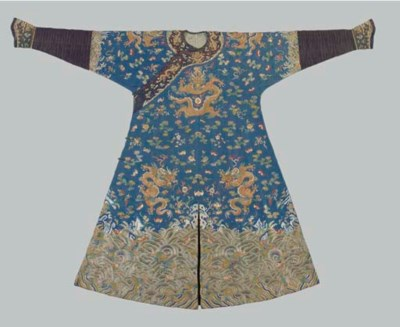 A RARE EMBROIDERED BLUE SILK D