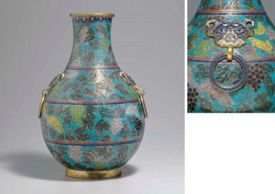 AN UNUSUAL CLOISONNE ENAMEL HU