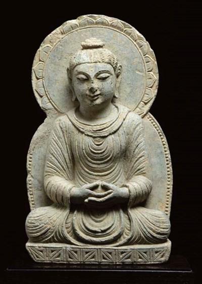 A green schist figure of buddh