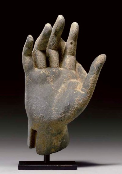 A gray schist hand of Buddha