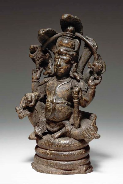 A Rare Bronze Figure of Vishnu