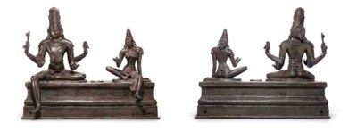 A Bronze group of Shiva and Pa