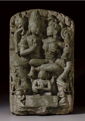 A green stone relief of Vishnu