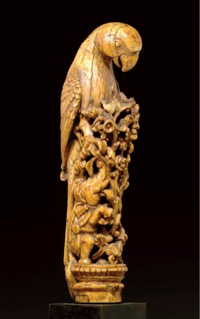 An Ivory finial of a Parrot