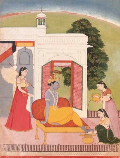 Krishna's feet washed by maids
