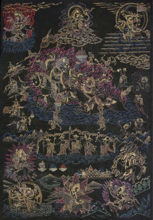 A Black-Ground Thangka of a Ka