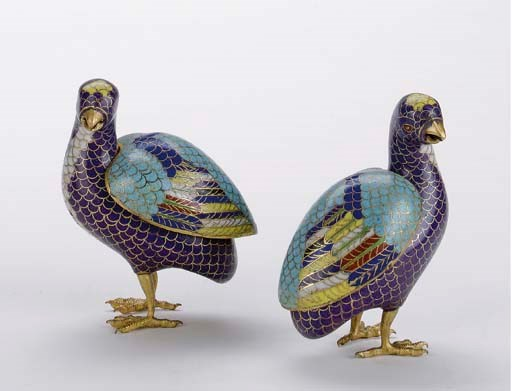 A PAIR OF CLOISONNE FIGURES OF