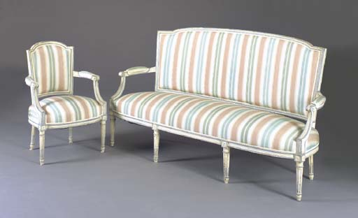 A LOUIS XVI STYLE BLUE AND GRE